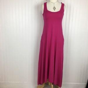 Garnet hill pink high low tank maxi dress medium